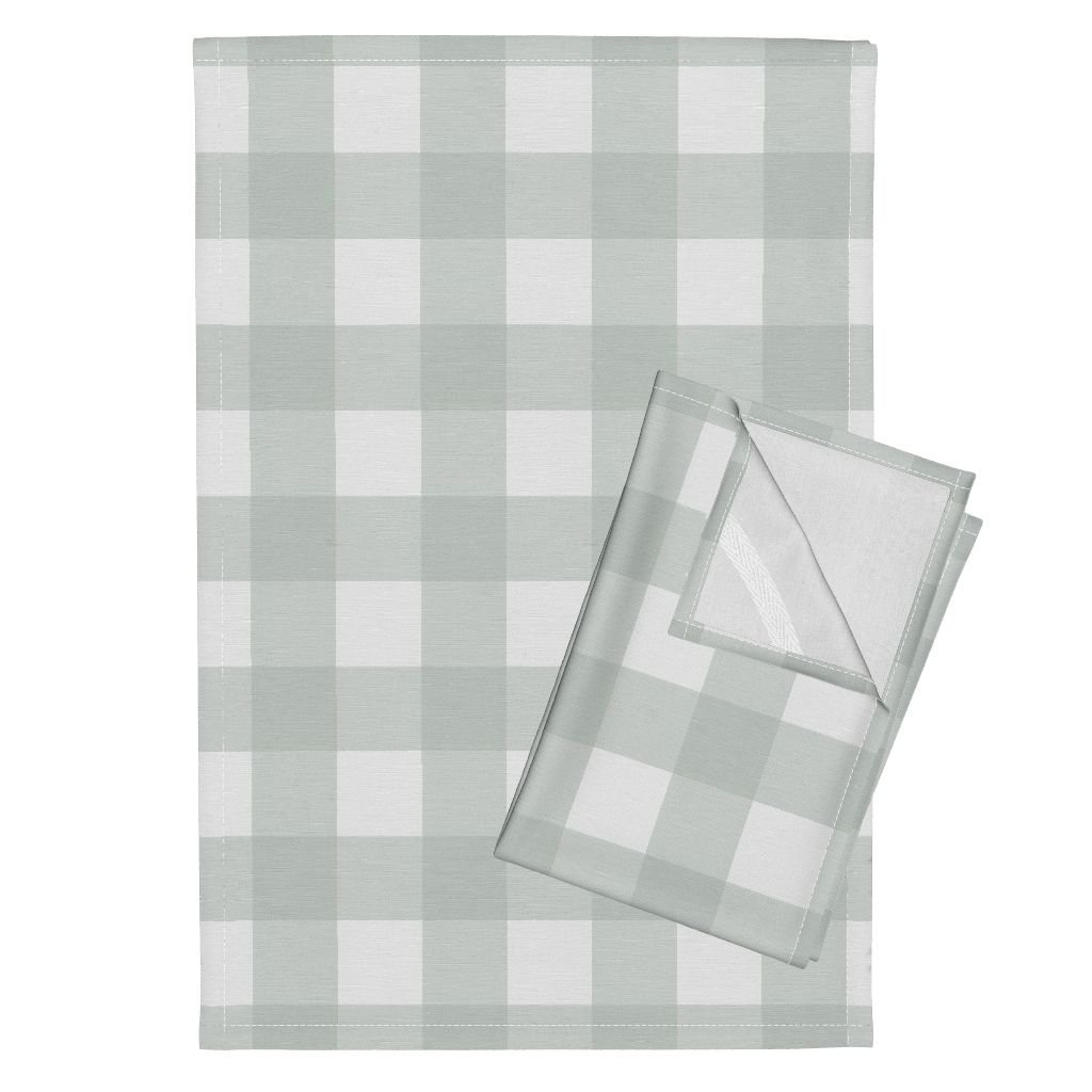 Roostery Gray Green Gingham Buffalo Check Spa s Tea Towels Buffalo Check in Spa by Willowlanetextiles Set of 2 Linen Cotton Tea Towels