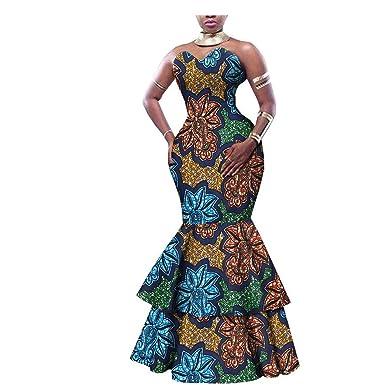 Amazon.com: Vestido africano para mujer, vestido de fiesta ...