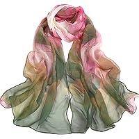 Bullidea Silk Scarf Women's Elegant Long Floral Printing Chiffon Scarf Beach Thin Shawl Wrap Green