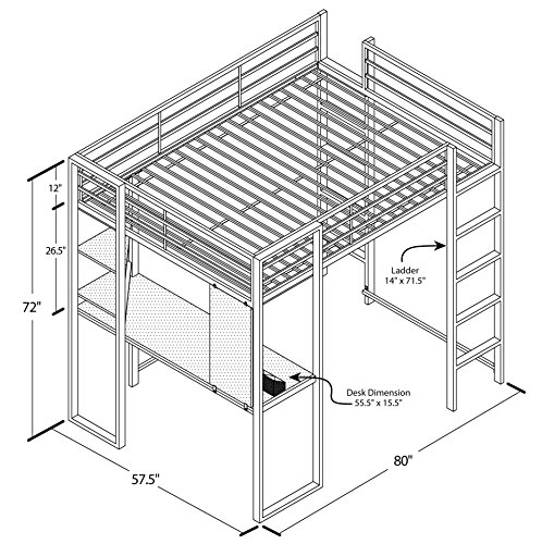 Dhp Abode Full Size Loft Bed Metal Frame With Desk And