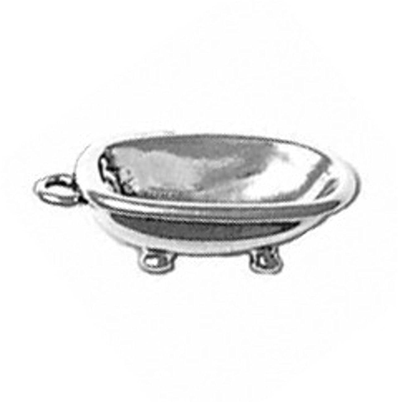 Sterling Silver Girls .8mm Box Chain 3D Old Fashioned Antique Claw Foot Bathtub Pendant Necklace