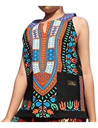 RaanPahMuang Brand Dashiki Childrens Cotton Summer Vest Shirt in Black Tones