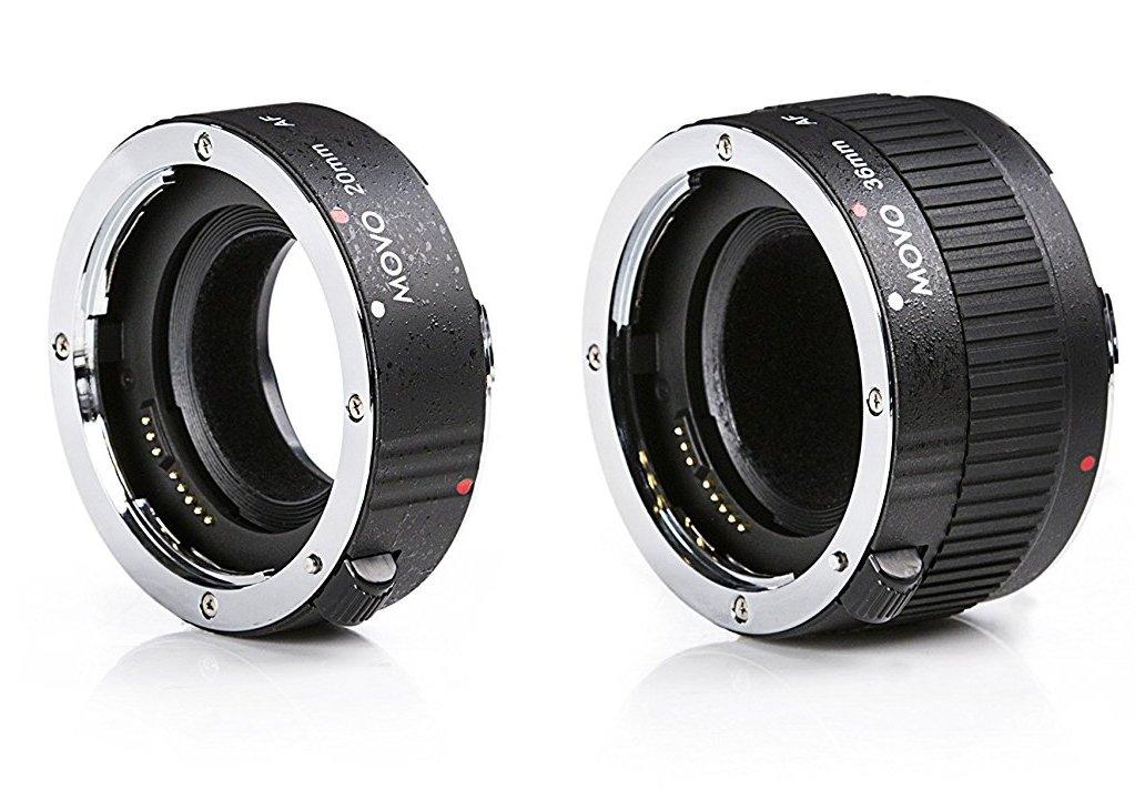 Movo MT-P56 2-Piece AF Chrome Macro Extension Tube Set for Pentax K DSLR Camera with 20mm, 36mm Tubes