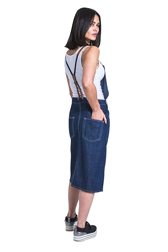 fastens with braces Pinafore Bib Front Split USKEES Midi Denim Dungaree Dress