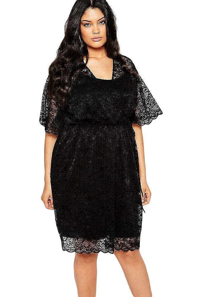 f4e06b82089e6 Plus Size Black Lace Dress Wedding Formal Club Wear Party Wear Evening Dress  Size UK 16 18 20  Amazon.co.uk  Clothing