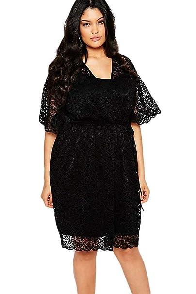 Plus Size Black Lace Dress Wedding Formal Club Wear Party