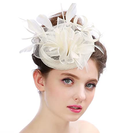 0091b8a5 Amazon.com: Women Derby Hat Wedding Party Cap Flower Feather Alice Headband Fascinator  Headwear Ladies Race Royal Ascot Pillbox Cocktail,White: Sports & ...