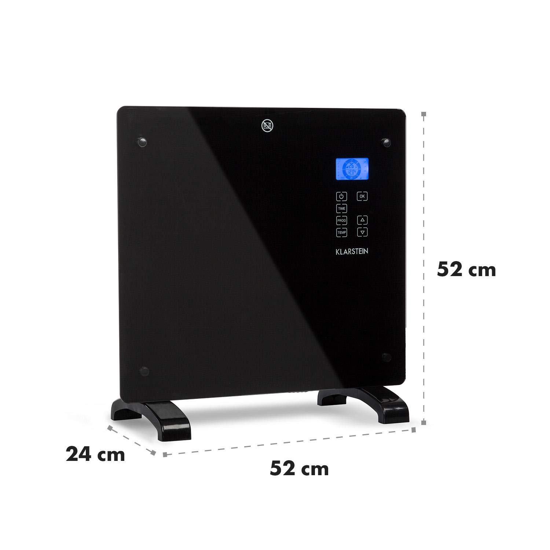 Klarstein Norderney Timer Stufa Elettrica Display Touch Termoconvettore Indicazione Temperatura Pannello in Vetro Modern Edition Temperatura: 15 /°-35 /°C Max 1000W Colore Nero