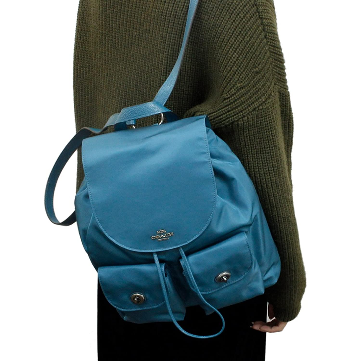 e761a9df4 NWT COACH NYLON DARK TEAL BACKPACK BOOKBAG BAG LEATHER STRAP F58814 ...
