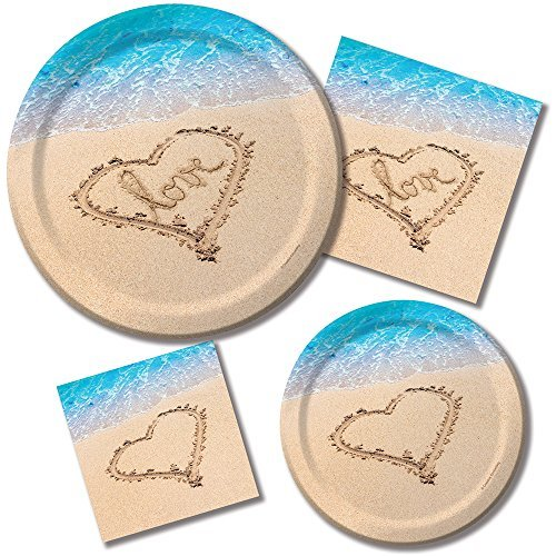 Beach Love Bridal Shower Wedding Party Kit Plates and Napkins for 16