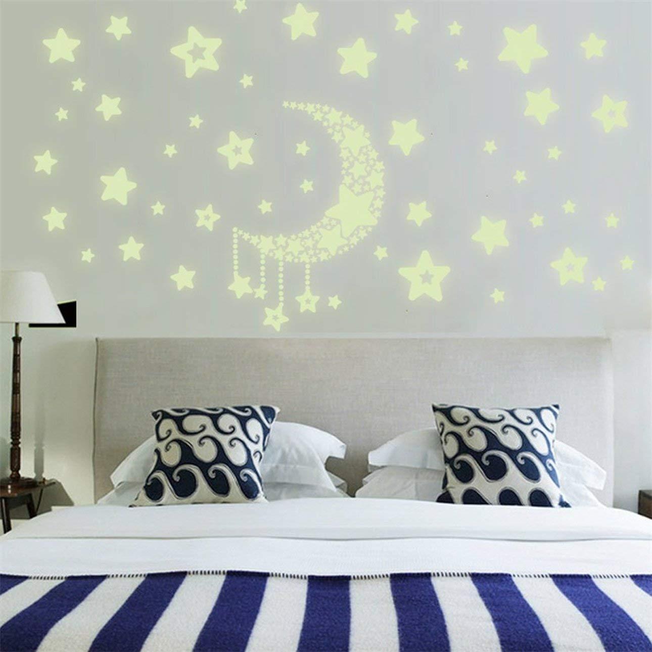 Pudincoco DIY luz de la Noche Brilla en la Luna Oscura Estrellas Pegatinas de Pared decoraci/ón para el hogar ni/ños Dormitorio Pegatinas de Pared Fluorescentes