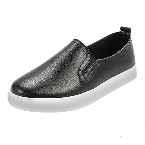 a85b6622 Zapatos sin Cordones para Mujer QIMAOO Zapatos de Cuero Zapatos Slip on  Zapatillas Planos Casuales Calzado Deportivo Zapatillas Estudiante:  Amazon.es: ...