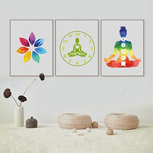 3 paneles/set Colorido Lotus Flower Yoga Wall Art Print ...