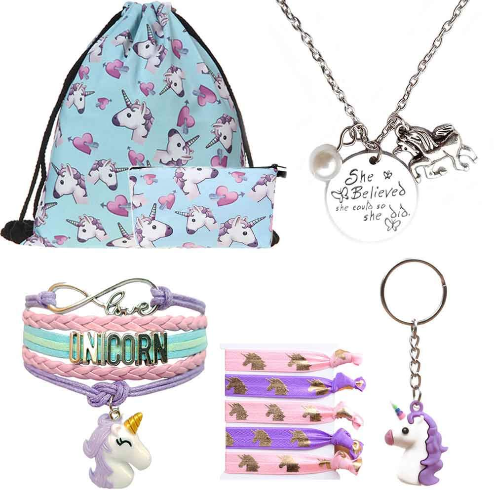 Unicorn Gifts for Girls 6 Piece - Drawstring Bag|Makeup Bag|Inspirational Necklace|Charm Bracelet|Hair Ties|Keychain