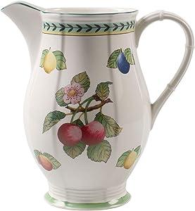 Villeroy & Boch French Garden Fleurence Oversized Pitcher, 67.5 oz, Premium Porcelain, White/Colored