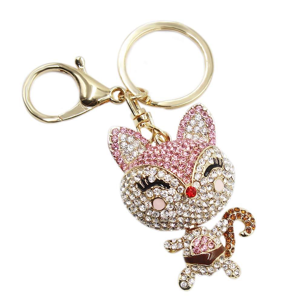 Cute Fox Rhinestone Keychain Bling Keyring Women Bag Purse Charm Pendant Gift