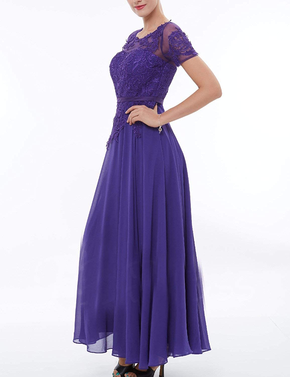 MKbridal Womens Chiffon Lace Tea Length Mother of The Bride Dress Short Sleeves Cocktail Party Gowns