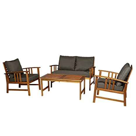 Outsunny Outdoor Indoor 4pcs Acacia Wood Furniture Set 1 Coffee Table 2  Armchairs & 1 Sofa with Cushions Patio Garden Conservatory