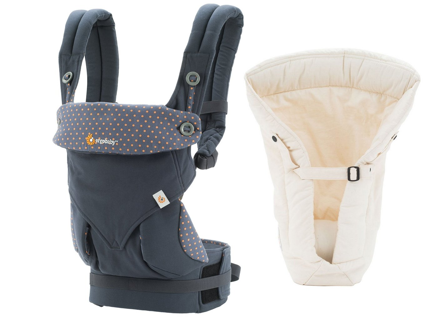 Ergobaby Bundle - 2 Items: 360 Dusty Blue Baby Carrier and Original Natural Infant Insert