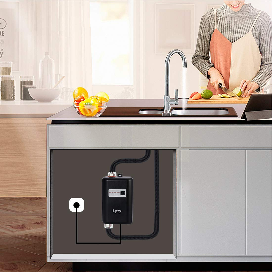 Mini Instant Water Heater Electric Under Sink - 3kW at 110v 120v Tankless Hot Water Heater for Hand/Face/Dishes Washing Kitchen Bathroom(Designed for Low Water Flow Use Only)(Black) by Lyty (Image #4)