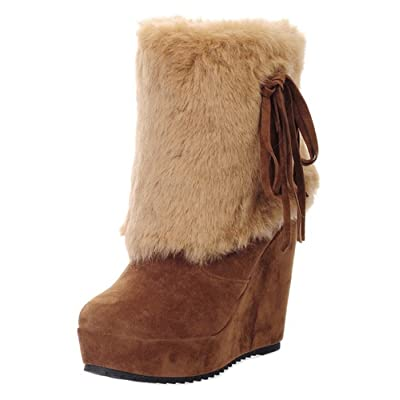 Aisun Women's Warm Faux Fur Lined Round Toe Wedge Winter Short Boots High Heel Pull On Platform Ankle Snow Booties