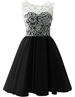Omela Short Lace Chiffon Girls Prom Party Gown Bridesmaid Dresses