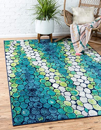 Unique Loom Metro Collection Abstract Water Drops Circles Bright Colors Light Green Area Rug 9 0 x 12 0
