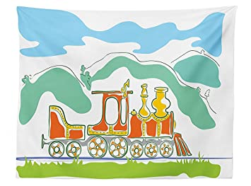 Vipsung Steam Engine Tablecloth Colorful Small Old Train In Country Retro Kids Art Vintage Cartoon Print