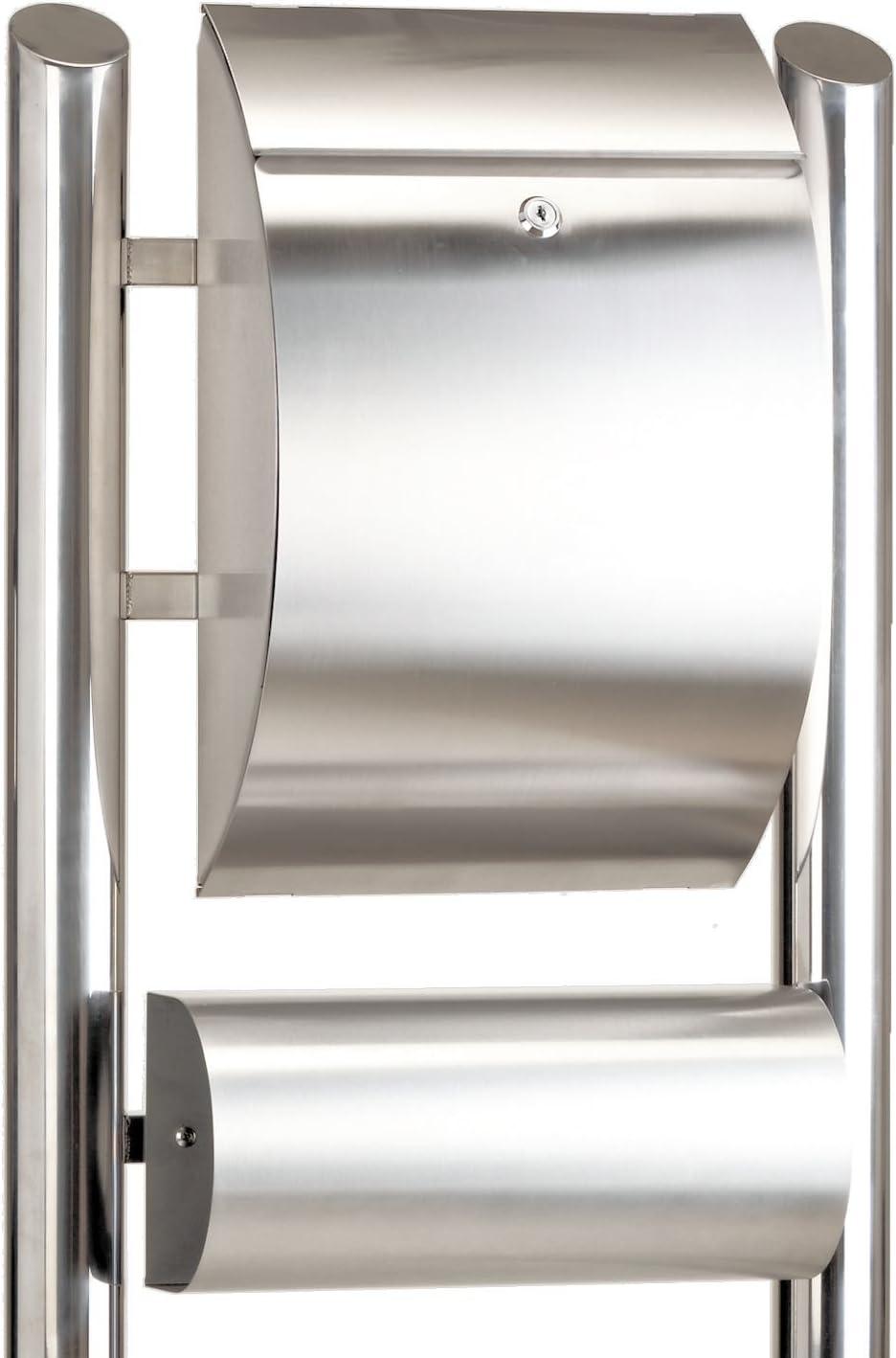 Zelsius - Buzón de Correo con Soporte I Acero Inoxidable I Color Plateado I Cerradura I Compartimento Periódicos