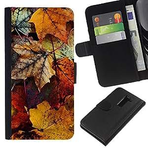 LG G2 / D800 / D802 / D803 / VS980 Modelo colorido cuero carpeta tirón caso cubierta piel Holster Funda protección - Decay Autumn Yellow Pastel
