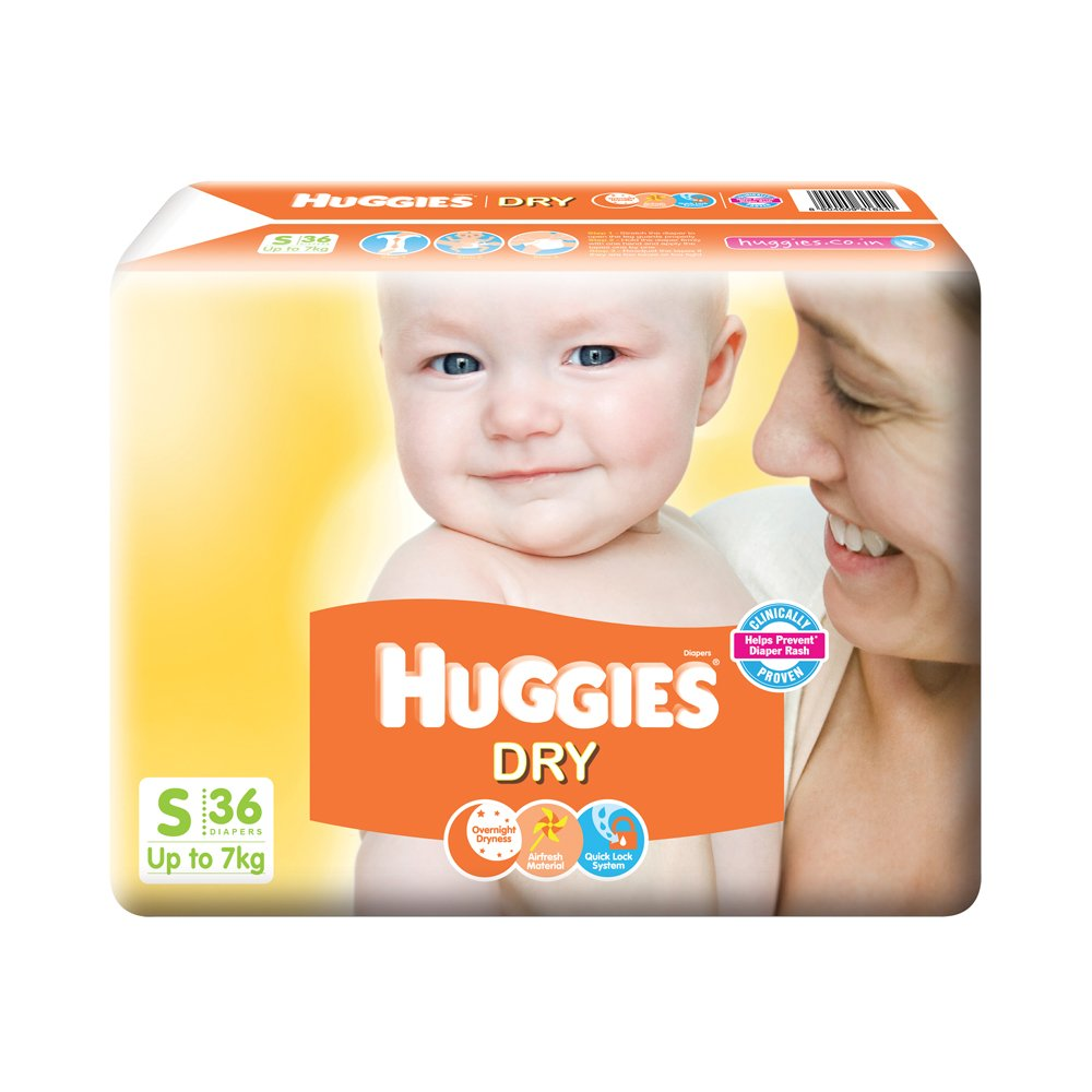 Huggies New Dry Diapers, Small (Pack Of 36)