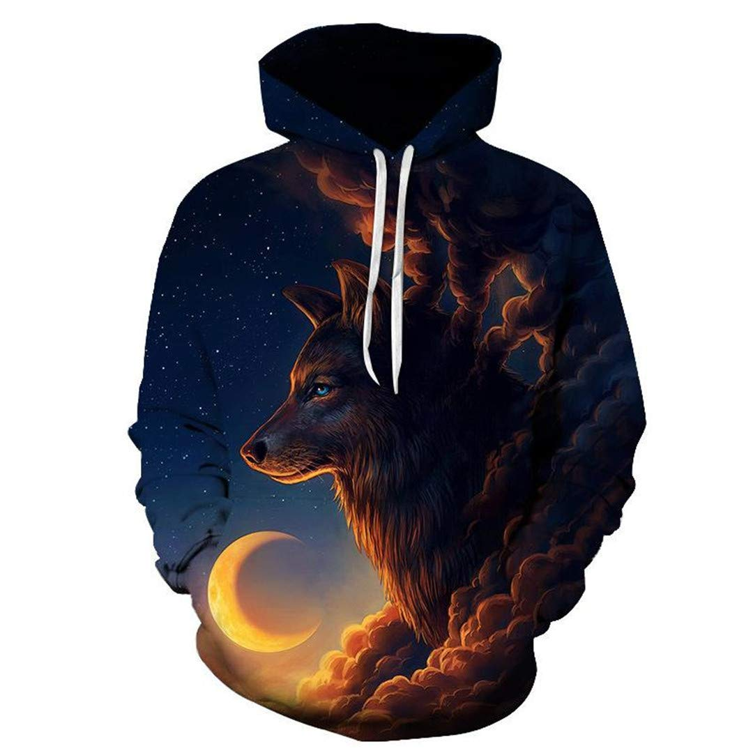 Wolf 3D Hoodies Men Sweatshirt Novelty Casual Hoodies Quality Drop Ship Tracksuits Pullover