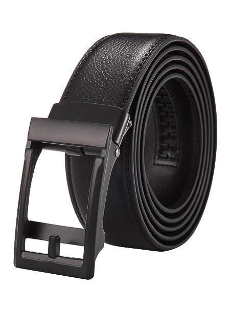 Cinturón Hombre Cuero Automática Trinquete Hebilla Cinturones de Piel Traje Para Jeans y Ropa Casual y Ropa de Trabajo Negro likbFcPi