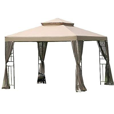 Garden Winds LCM515B-RS 10 x 10 Window Gazebo RIpLock 350 Replacement Canopy, Beige: Garden & Outdoor