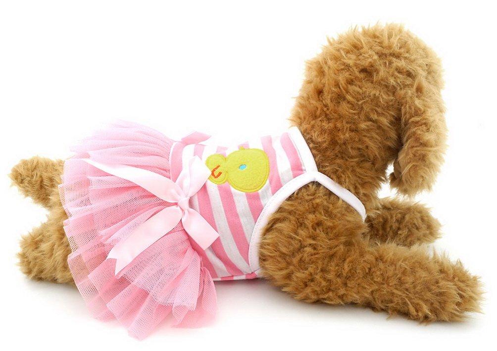 SELMAI Striped Dog Tutu Dress Bowknot Gauze Tiered Princess Puppy Dress Skirt Party Beach Travel Female Doggie Clothes Apparel Pink S