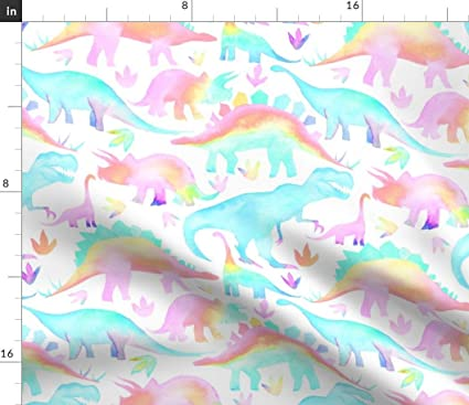 Amazon.com: Spoonflower Rainbow Dinos Fabric - Multicolour ...