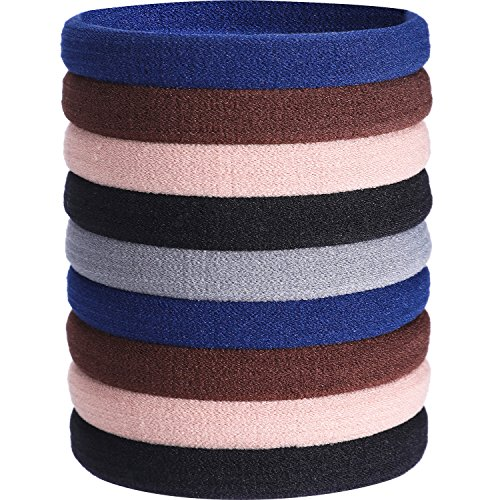 (eBoot 20 Pieces Large Cotton Stretch Hair Ties Bands Rope Ponytail Holders Headband for Thick Heavy and Curly Hair (Multicolor B))