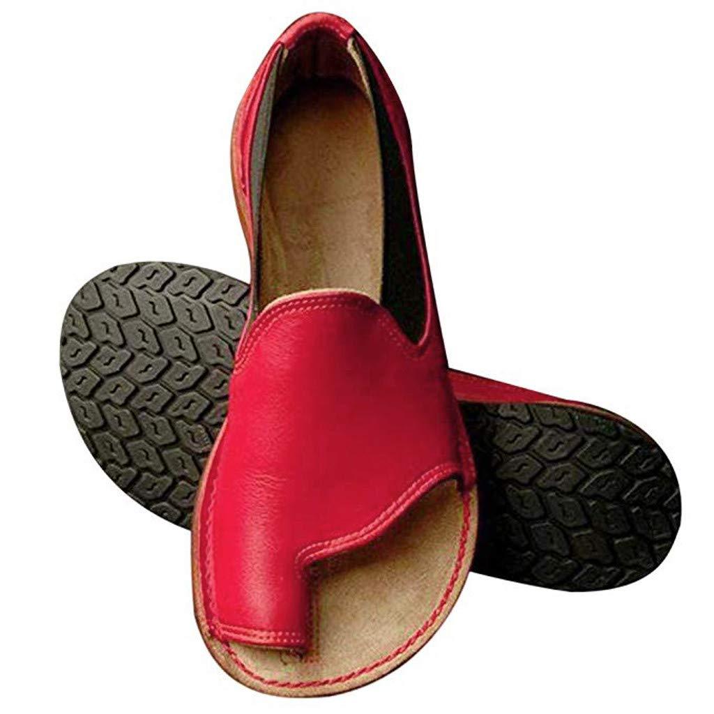 Women's Retro Roman Slides Sandals Comfy Espadrille Slide-on Open Toe Faux Leather Ankle Buckle Summer Flat Sandals by SSYUNO (Image #1)