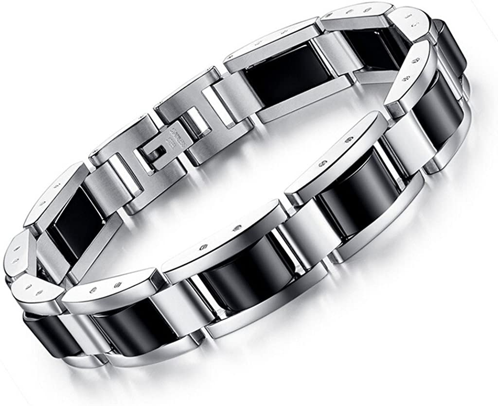 Feraco Mens Magnetic Therapy Bracelet for Arthritis Pain Relief Classic Black Stainless Steel Bracelets with Remove Tool, 8.66 inch