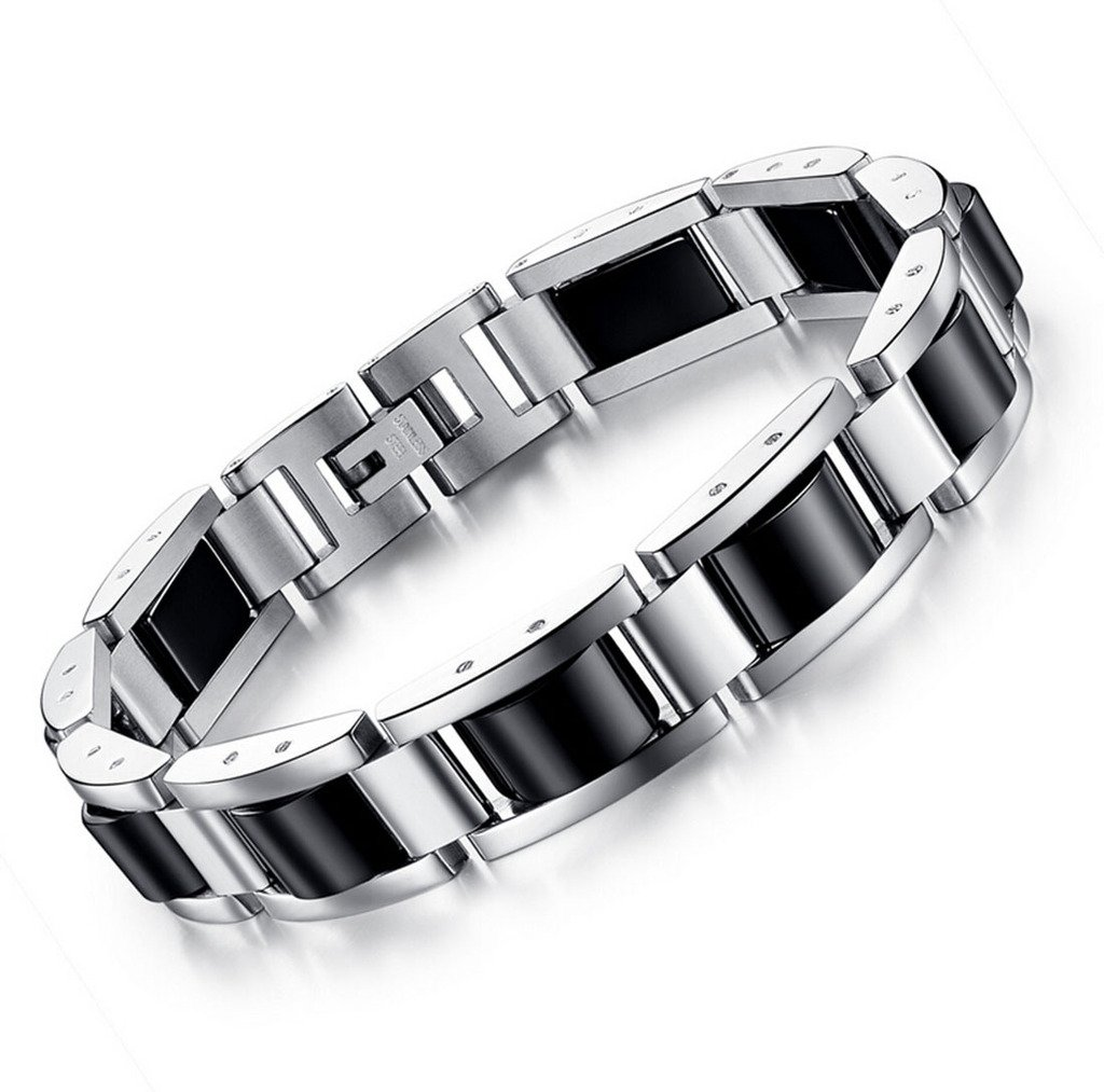 Feraco Men Sleek Magnetic Therapy Bracelets Pain Relief for Arthritis,Stainless Steel,8.66 inch Black