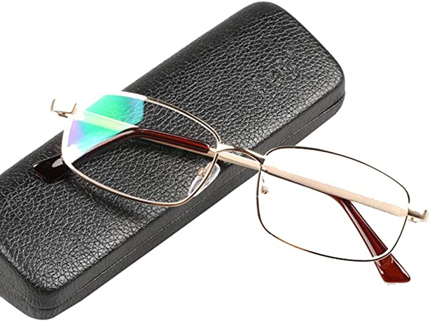 Gafas de lectura, lector de computadora plateado, gafas con montura de metal para hombres y mujeres, lentes de resina de alta definición, con estuche para gafas portátil, dioptrías (+1.0): Amazon.es: Hogar