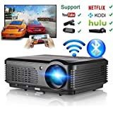 Wireless Projector WiFi Bluetooth 3600 Lumens (2018 Updated), HD LED Projector 1080p Support, Digital Home Theater Cinema Projector Indoor Outdoor Movie Game with HDMI USB TV Audio AV Ports
