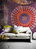 Popular Handicrafts Popular Twin Hippie Indian Tapestry Elephant Mandala Throw Wall Hanging Gypsy Bedspread By Twin 54x84 Inches,(140cmsx210cms), Maroon