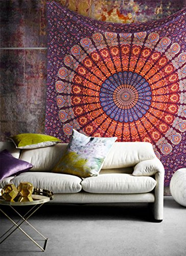 Popular Handicrafts Popular Twin Hippie Indian Tapestry Elephant Mandala Throw Wall Hanging Gypsy Bedspread Twin 54x84 Inches,(140cmsx210cms), Maroon ()