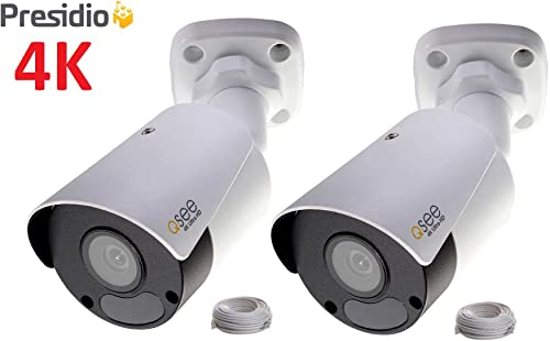 Q-See 4K 8MP Presidio Archer Bullet Camera with Color Night Vision Ultra HD IP Surveillance with H.265 and IVA, VCA 2-Pack AR4KB1.1