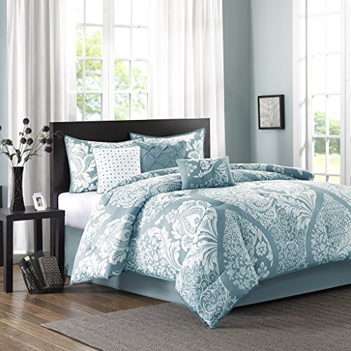 Madison Park Vienna 7 Piece Cotton Printed Comforter Set Blue King by Madison Park