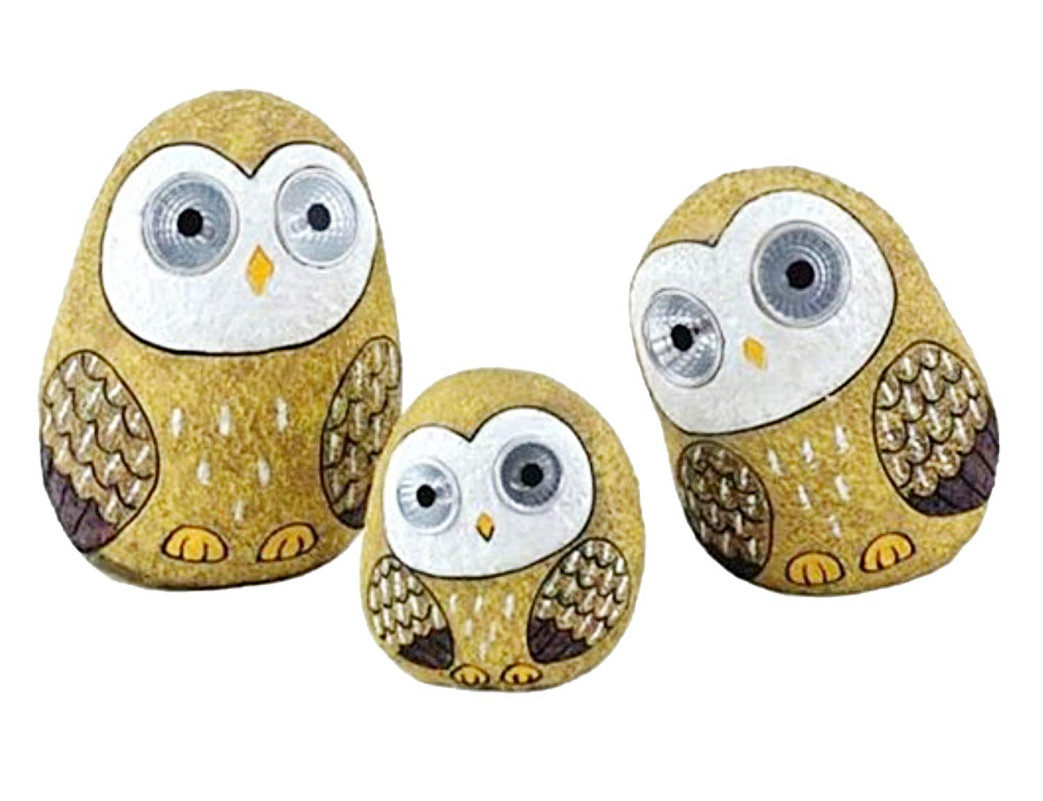 Solar Owls with Light Up Eyes Gold Set of 3 Figures