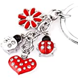 Z395 Cute Red Style Ladybug Heart Lily Charms Key Ring Keychain