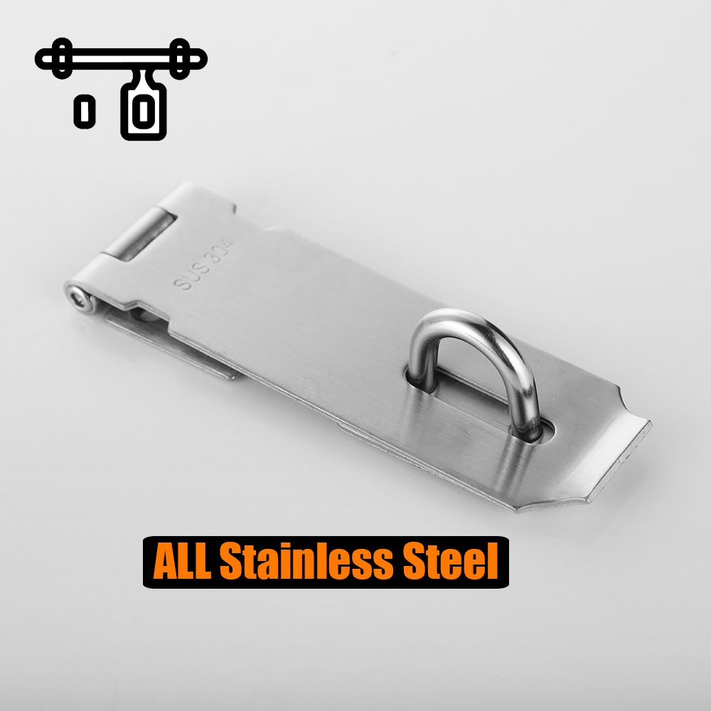 6.7 Inch Thick 3.4mm JQK Sliding Bolt Gate Latch DL310-BN Heavy Duty 304 Stainless Steel Barrel Bolt with Padlock Hole Interior Door Latches Brushed Finish