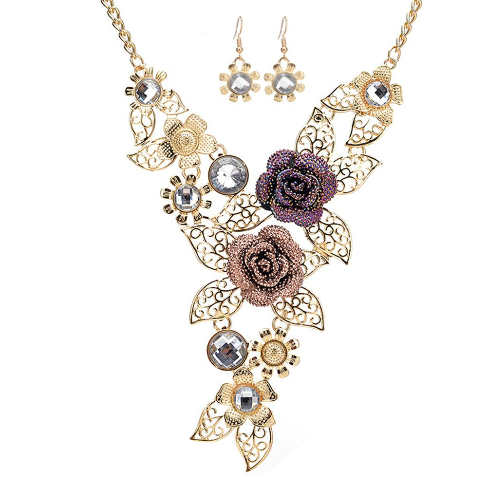 Necklace Women Elegant Vintage Flower Statement Necklace Earrings Jewelry Set MINGHUA